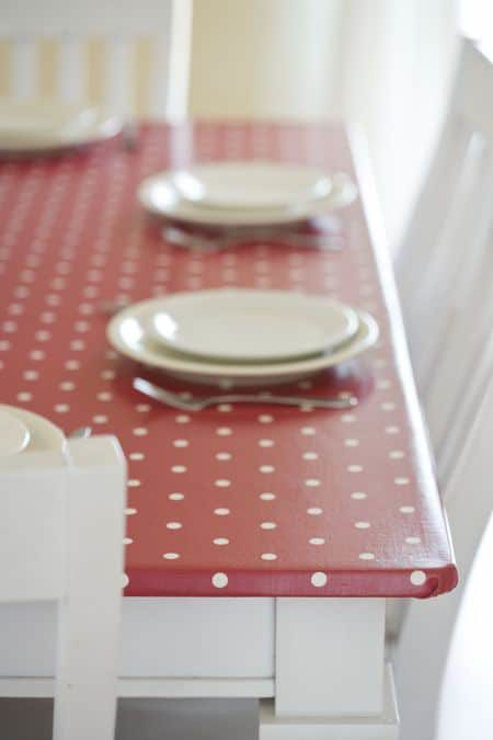 Re-Covering My Kitchen Table in Oilcloth