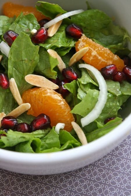 Green Salad with Manadarins and Pomegranate Seeds